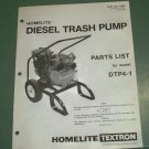 Homelite Parts List, Diesel Trash Pump, Model DTP4-1 Part No. 17203 Illustrated
