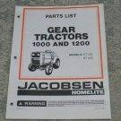 Homelite Jacobsen Parts List Gear Tractors 1000 & 1200 Models GT10G & GT12G