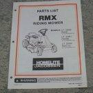 Homelite Jacobsen Parts List RMX Riding Mower Models UT & RMX used