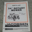"Homelite Jacobsen Parts List 34"" Rotary Mower for the LTX Tractors UT 36020"
