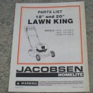 "Homelite Jacobsen Parts List 18"" & 20"" Lawn King part no. JA-99018-2"