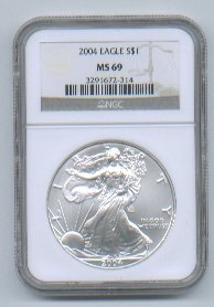 2004 American Silver Eagle NGC MS69 Brown/Gold Label Wholesale Priced