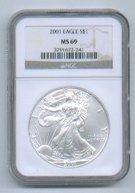 2001 American Silver Eagle NGC MS69 Brown/Gold Label Wholesale Priced