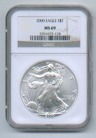 2000 American Silver Eagle NGC MS69 Brown/Gold Label Wholesale Priced