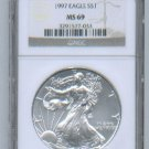 1997 American Silver Eagle NGC MS69 Brown/Gold Label Wholesale Priced