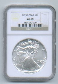 1995 American Silver Eagle NGC MS69 Brown/Gold Label Wholesale Priced