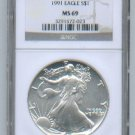 1991 American Silver Eagle NGC MS69 Brown/Gold Label Wholesale Priced