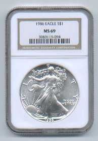 1986 American Silver Eagle NGC MS69 Brown/Gold Label Wholesale Priced