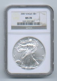 2007 American Silver Eagle NGC MS70 Brown / Gold Wholesale Priced