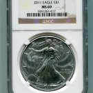 2011 American Silver Eagle NGC MS69 Brown/Gold  Label Wholesale Priced