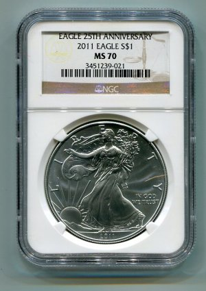 2011 American Silver Eagle NGC MS70 Brown/Gold Label Wholesale Priced