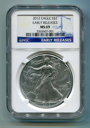 2012 American Silver Eagle NGC MS69 Early Release Label Wholesale Priced