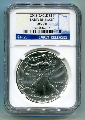2013 American Silver Eagle NGC MS 70 Early Release Wholesale Priced