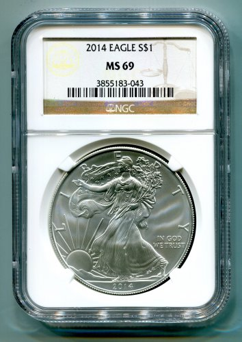 2014 American Silver Eagle NGC MS 69 Brown/Gold  Label Wholesale Priced