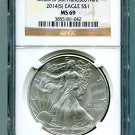 2014(S) Silver Eagle NGC MS 69 Brown Struck at San Francisco Mint Label Wholesale Priced