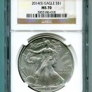 2014(S) Silver Eagle NGC MS 70 Brown/Gold Struck at San Francisco Mint Wholesale Priced