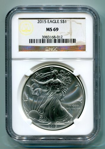 2015 American Silver Eagle NGC MS 69 Brown/Gold  Label Wholesale Priced
