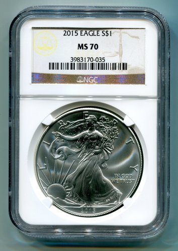 2015 American Silver Eagle NGC MS 70 Brown/Gold Label Wholesale Priced
