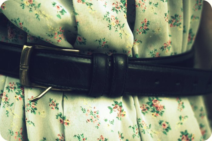 Black Leather Belt w/Gold Buckle