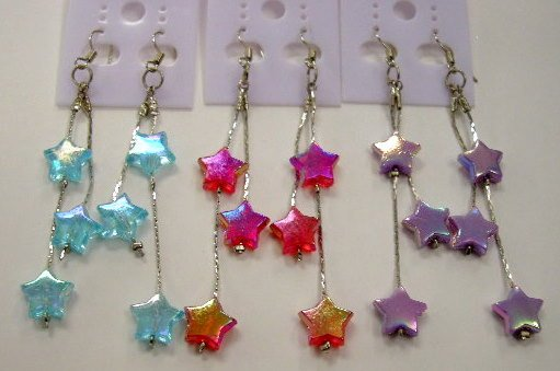 Star dangle earrings - choose 1 color