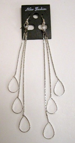 Long dangle teardrops silver tone