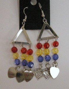 Tribal art leaf dangle earrings