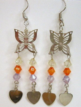 Butterfly earrings with leaf charms
