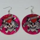 Ed Hardy tattoo style Love kills slowly earrings - PINK