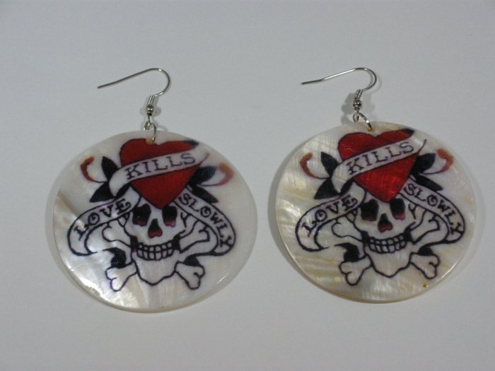 Ed Hardy tattoo style Love kills slowly earrings