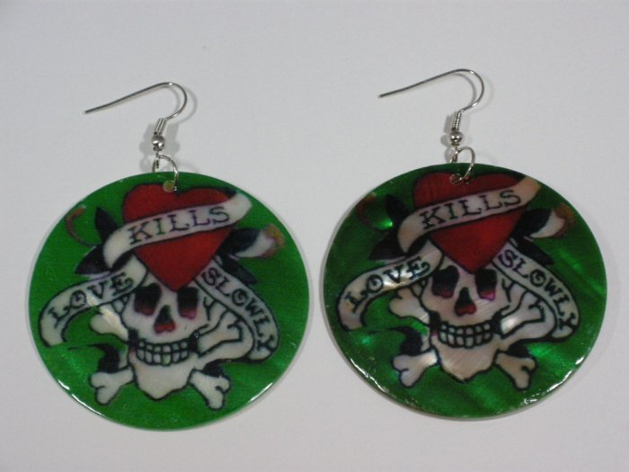 Ed Hardy tattoo style Love kills slowly earrings - Green