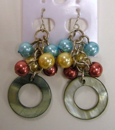 Beaded with shell disc dangle