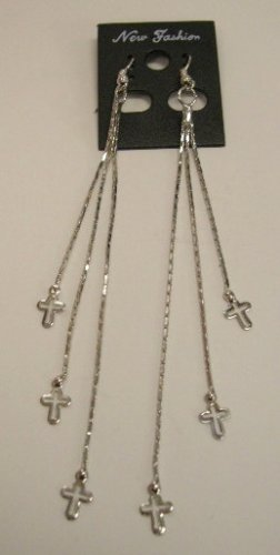 Long dangle earrings silver tone cross charms