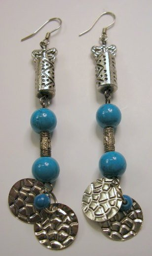 Silver beads butterfly charm and turquoise tone bead earrings