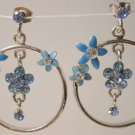 Blue Aquamarine cz flower earrings hoop