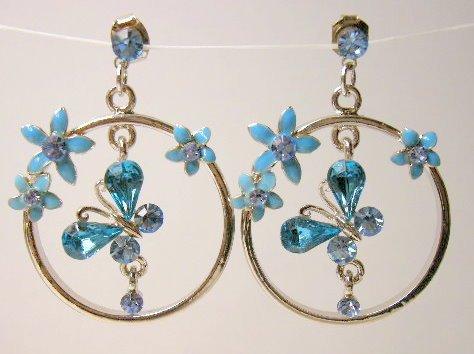 Blue Aquamarine cz butterfly earrings silver hoop
