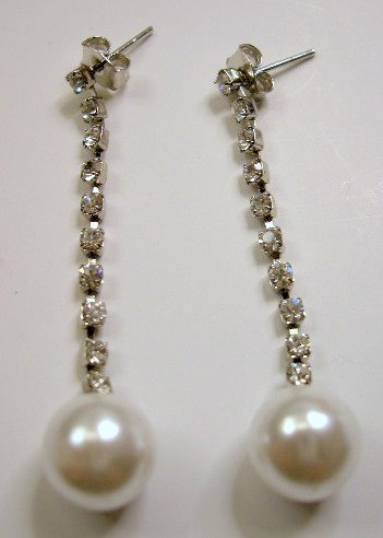 Rhinestone with pearl  long dangle earrings