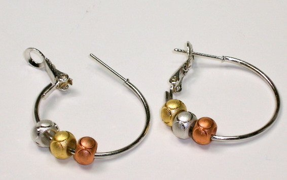 Hoop earrings with 3 tone brass silver copper