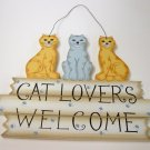 Cat lover's welcome - handmade wood craft