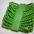 Green Wooden stretch wide bracelet