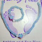 Blue  beaded anklet with matching toe ring - Handmade