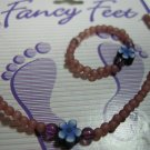 Brown  beaded anklet with matching toe ring - Handmade