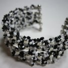 Black beaded multi layer cuff bracelet