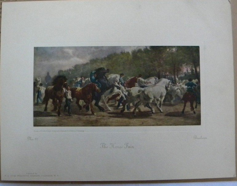 Horse Fair, Bonheur 1926 Picture Study Series No. 27 Vintage Print