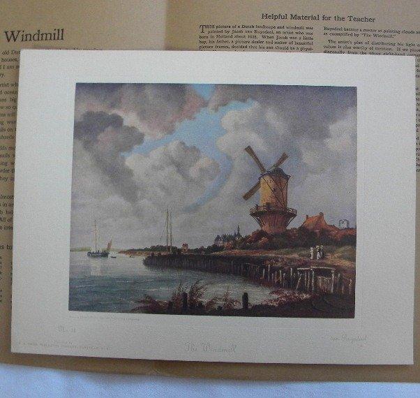 Windmill van Ruysdael 1926 Picture Study Series No. 11 Vintage Print