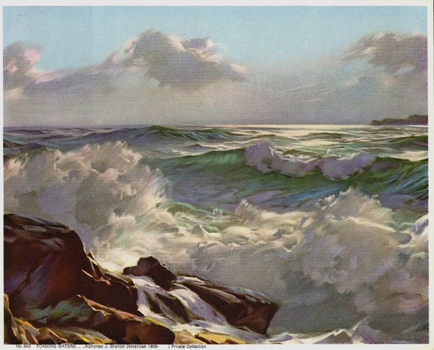 Vintage Print Foaming Waters, Shelton 8x10 Goes Litho