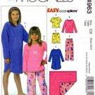 McCalls 4963 Girls Nightgown Pajamas Blanket Sewing Pattern 3-4, 5-6