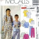 Girls, Boys Nightgown, Pajamas Sewing Pattern McCalls 4278 Size 3, 4