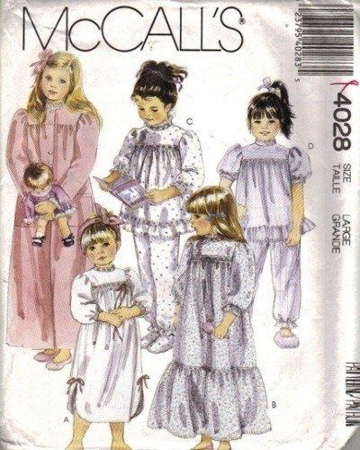 Girls Robe Nightgown Pajamas Sewing Pattern McCalls 4028 Size 5, 6