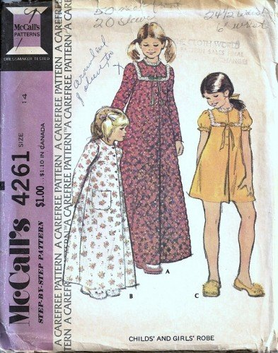 Teen Girls Robe 70s Vintage Sewing Pattern McCalls 4261 Size 14