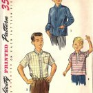 Boys 50s Shirt Vintage Sewing Pattern Simplicity 1829 Size 8